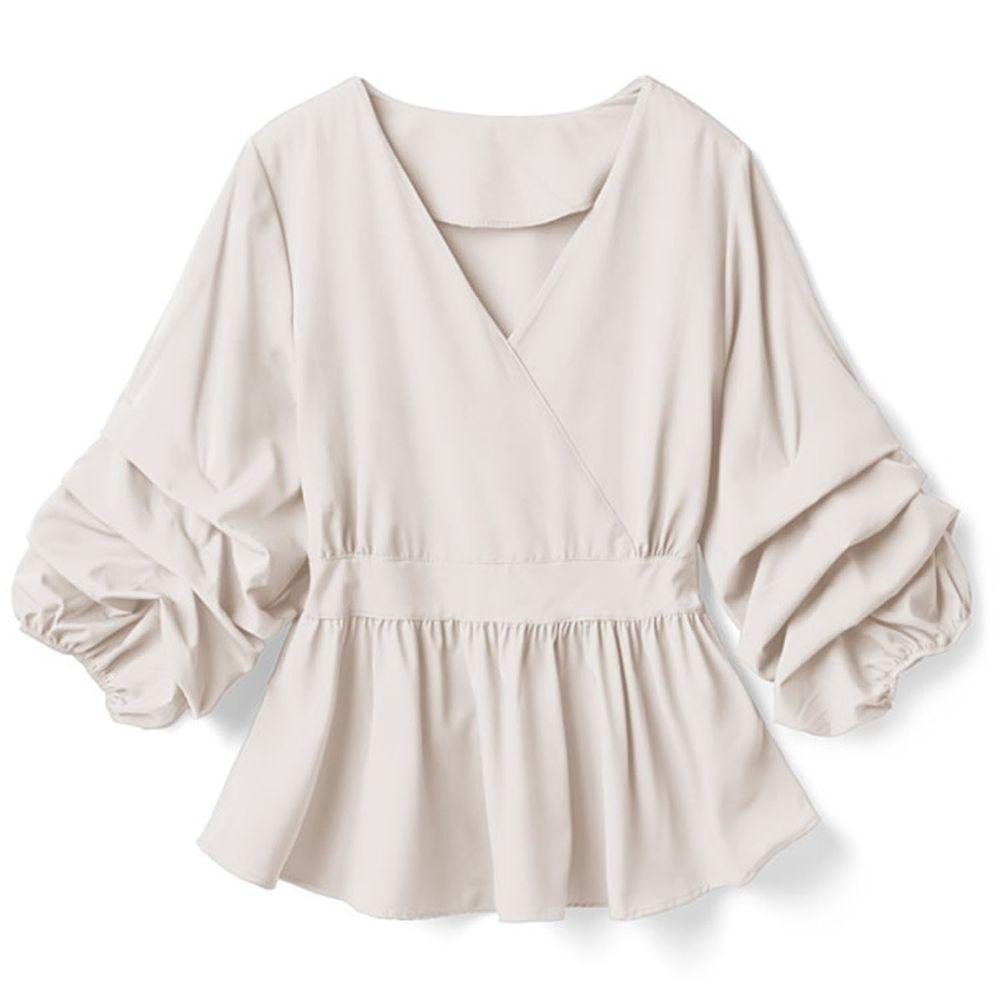 日本 GRL - V領層次感袖口七分袖上衣-杏