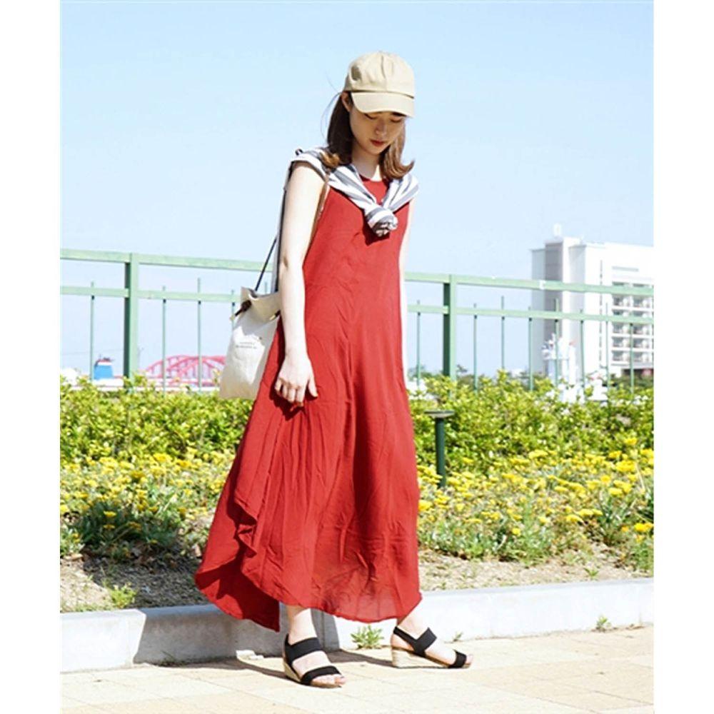日本 zootie - 涼感不規則U型裙擺背心洋裝-熱情紅 (Free)