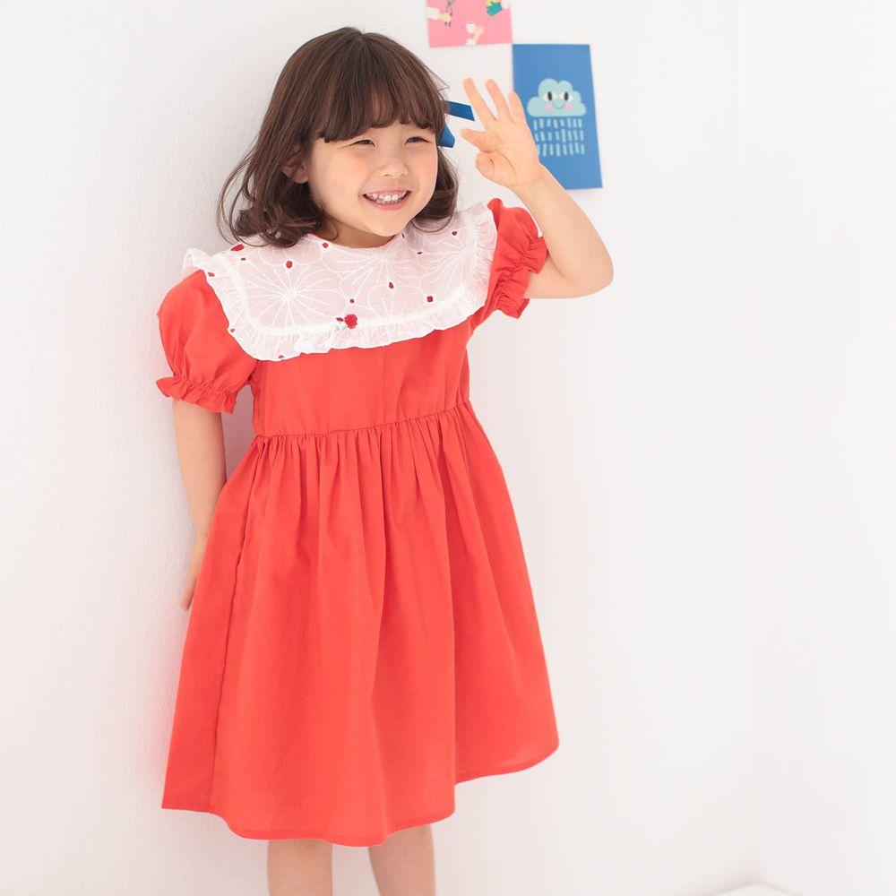韓國 Dalla - 雕花鏤空白領洋裝-紅