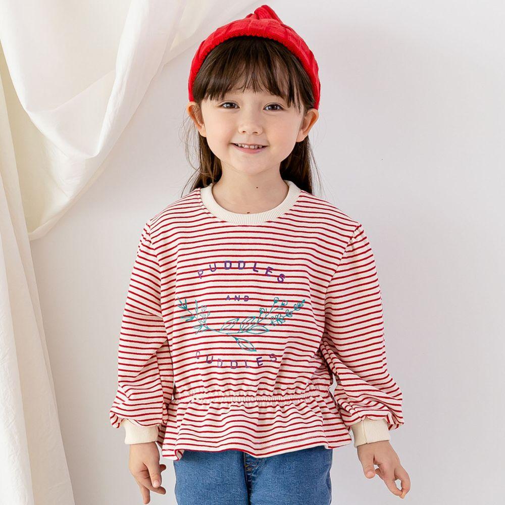 韓國 ERU - 縮腰條紋T-紅