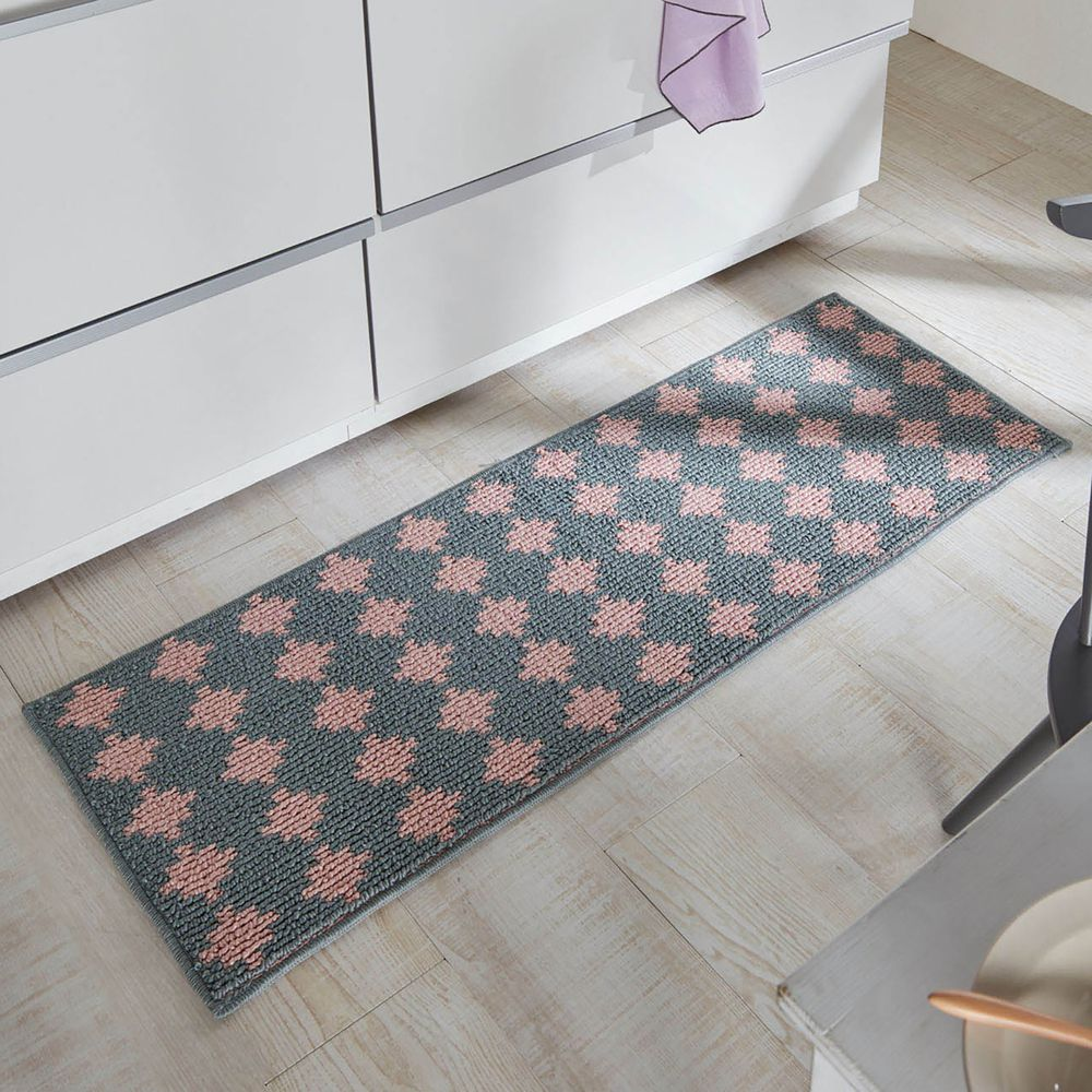 日本千趣會 - 日本製 長毛舒適腳踏墊(廚房/臥室)-幾何圖紋-粉灰色系