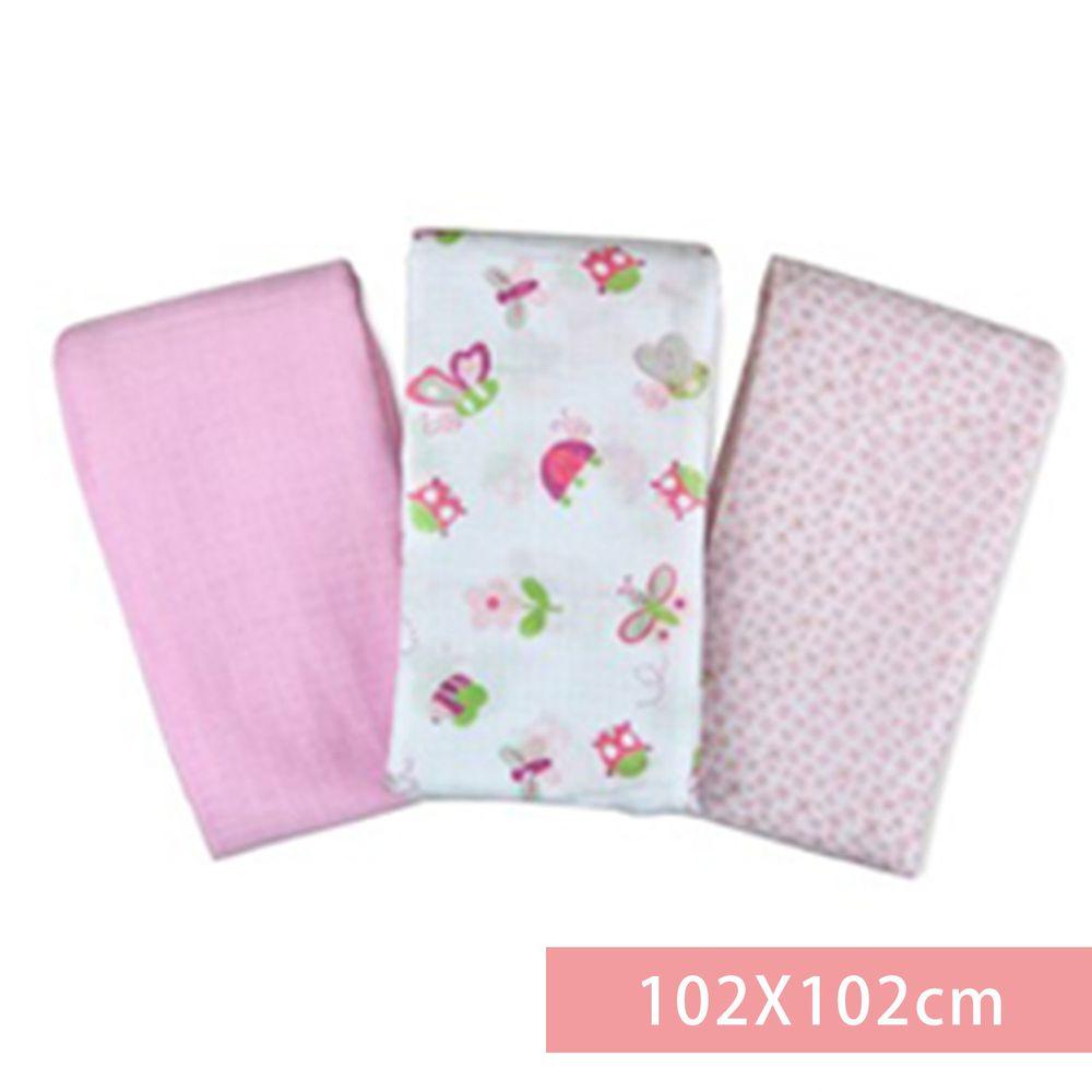 Summer Infant - 輕量細棉紗布寶寶毯3入組-浪漫花園-適用年齡:新生兒起皆適用