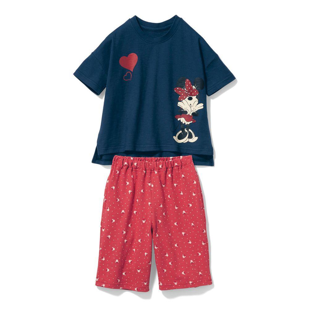日本千趣會 - 迪士尼純棉印花短袖家居服-蝴蝶結米妮-深藍粉