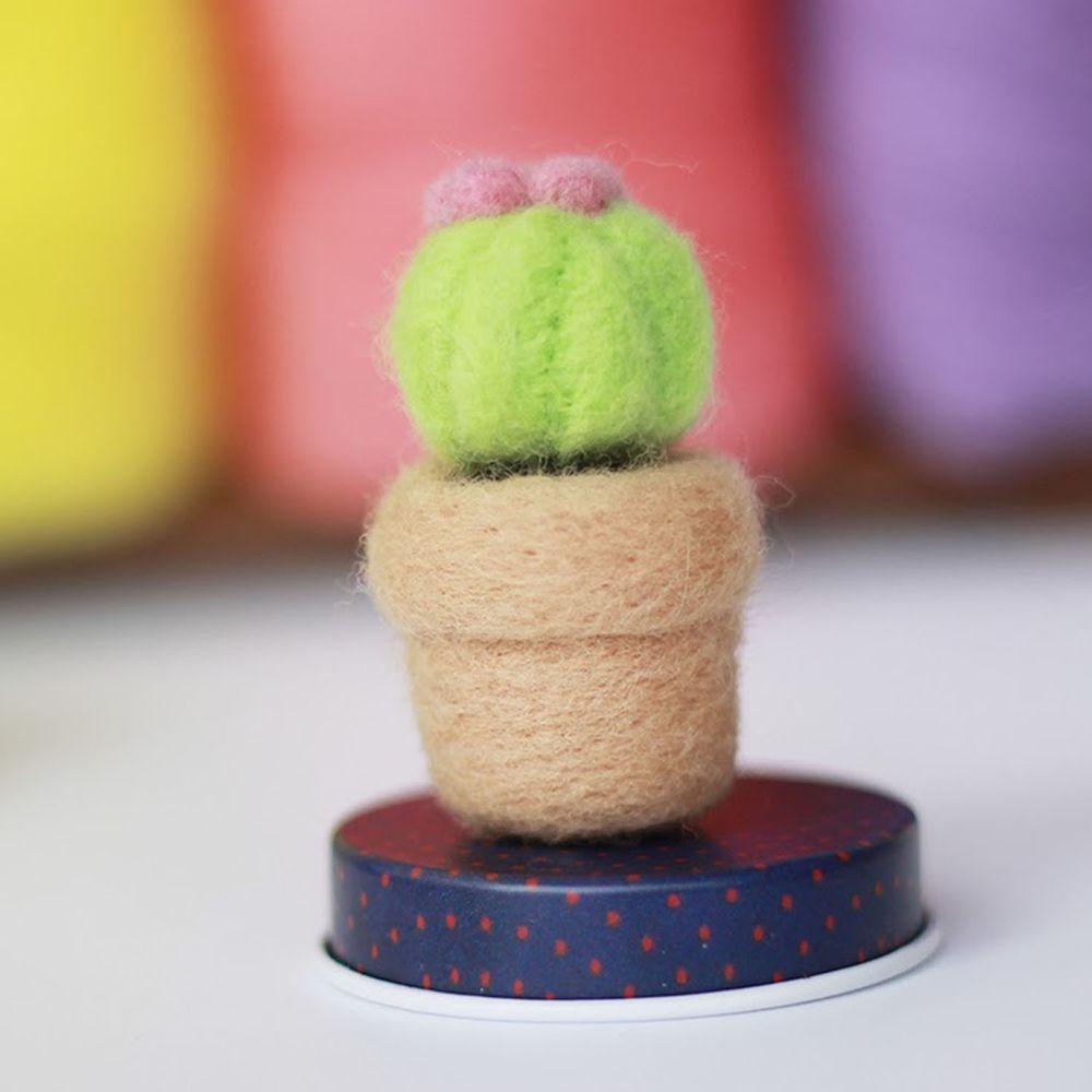 Diy植物造型羊毛氈戳戳樂材料包-仙人球