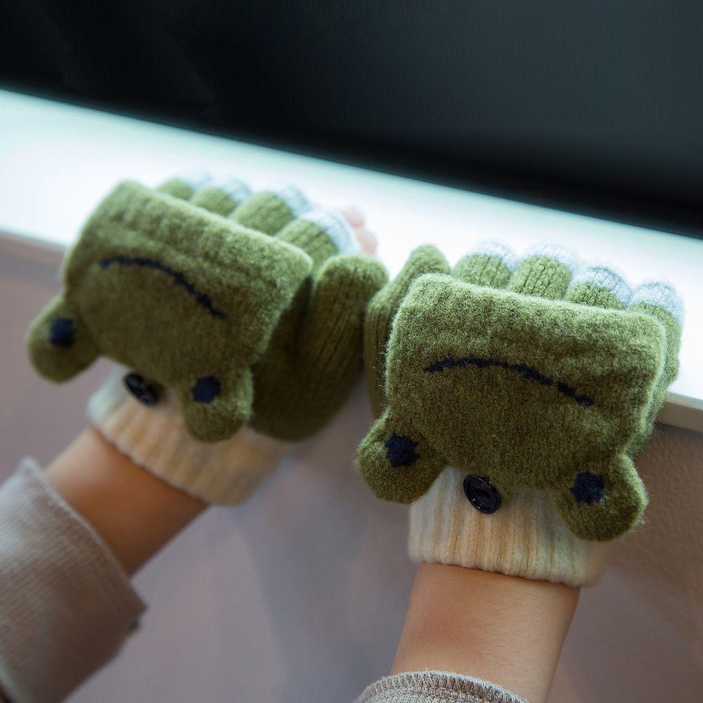日本 BISQUE - 日本製質感動物造型2way小孩手套-青蛙-墨綠 (3-6y)