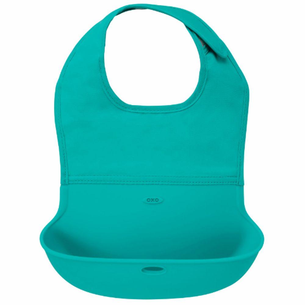 美國 OXO - OXO tot 隨行好棒棒圍兜-靛藍綠 (6m+)