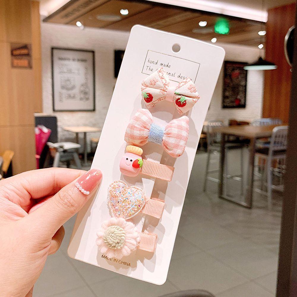 粉嫩色系寶寶髮夾5件組-粉色格紋蝴蝶