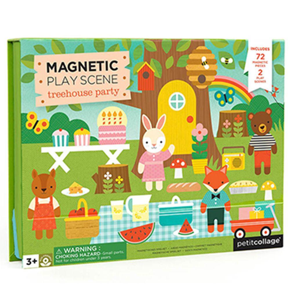 美國 Petit Collage - 磁鐵場景遊戲盒-歡樂樹屋