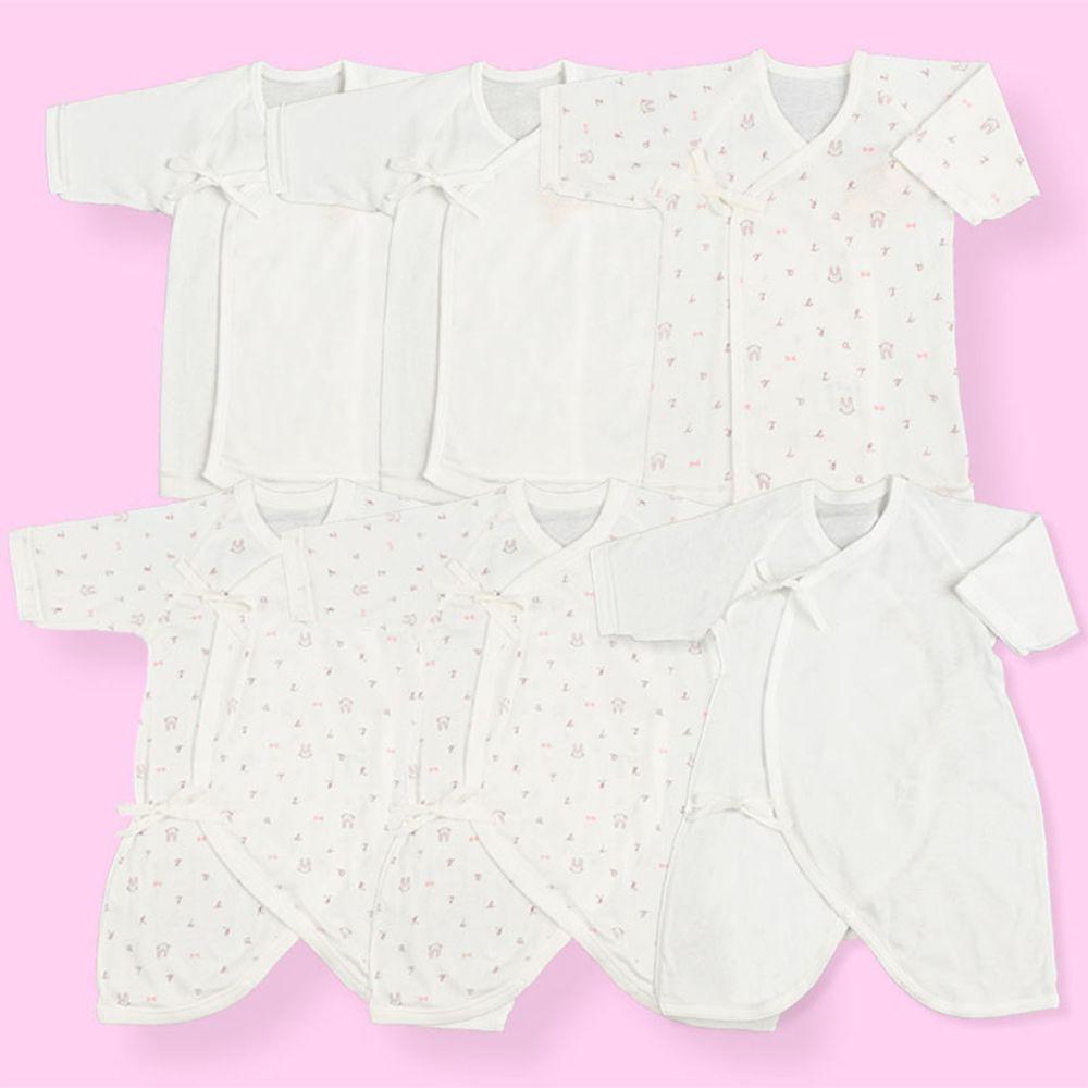 akachan honpo - 新生兒內衣6件組長袖 綁帶款-logo動物-粉紅色 (50~60cm)