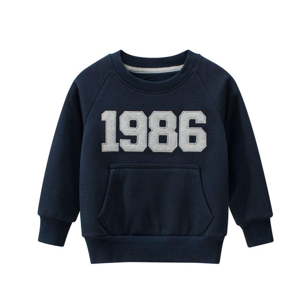 棉質長袖大學T-數字1986-藍色