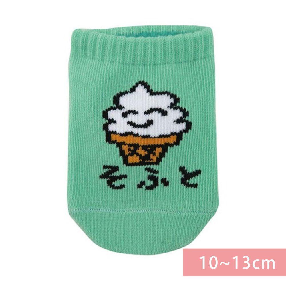 日本 OKUTANI - 童趣日文插畫短襪-霜淇淋-綠 (10-13cm(1-3y))