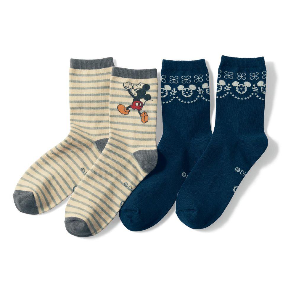 日本千趣會 - 迪士尼中筒襪兩件組-米奇-灰條紋與圖騰 (23-25)