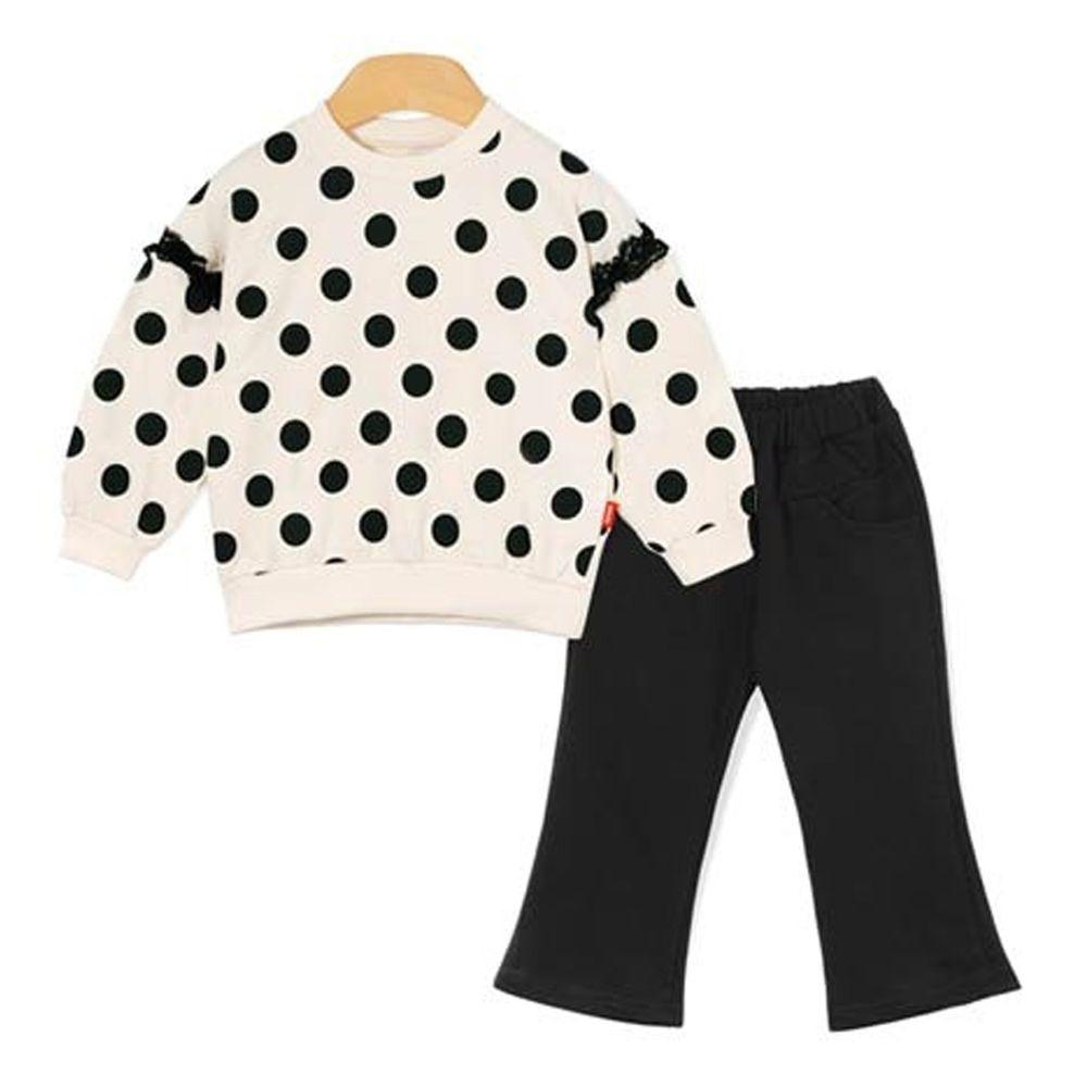 韓國 OZKIZ - 黑色波點+舒適喇叭褲2件組