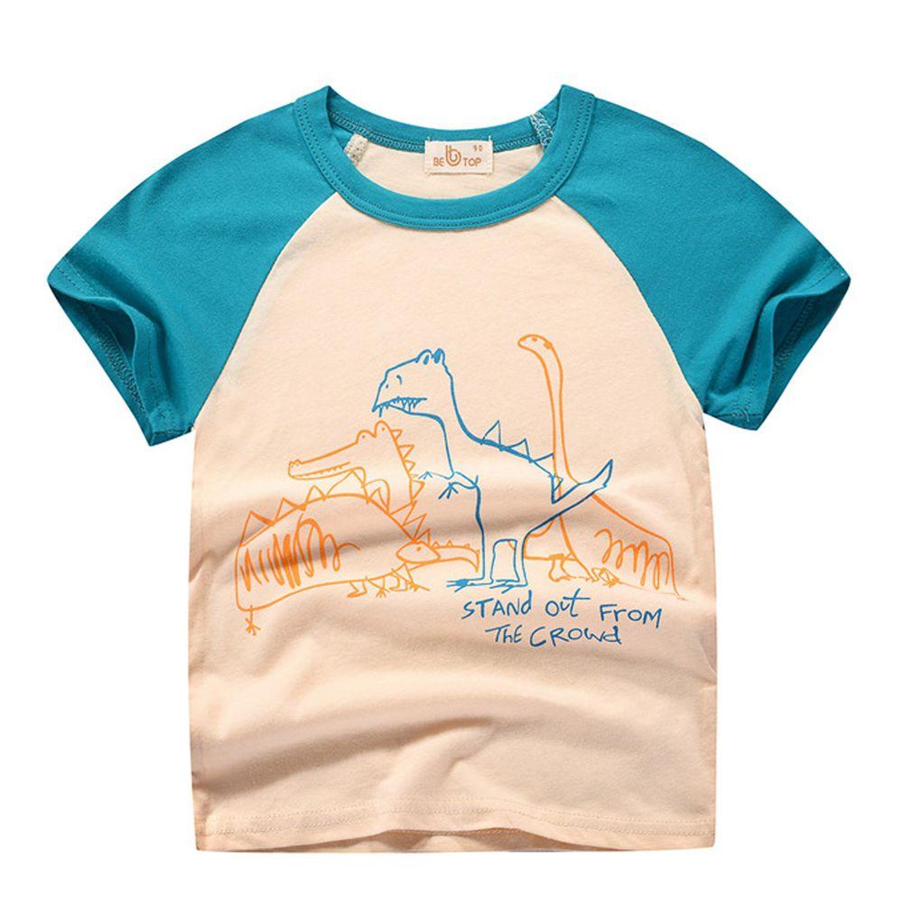 線條恐龍純棉短袖上衣