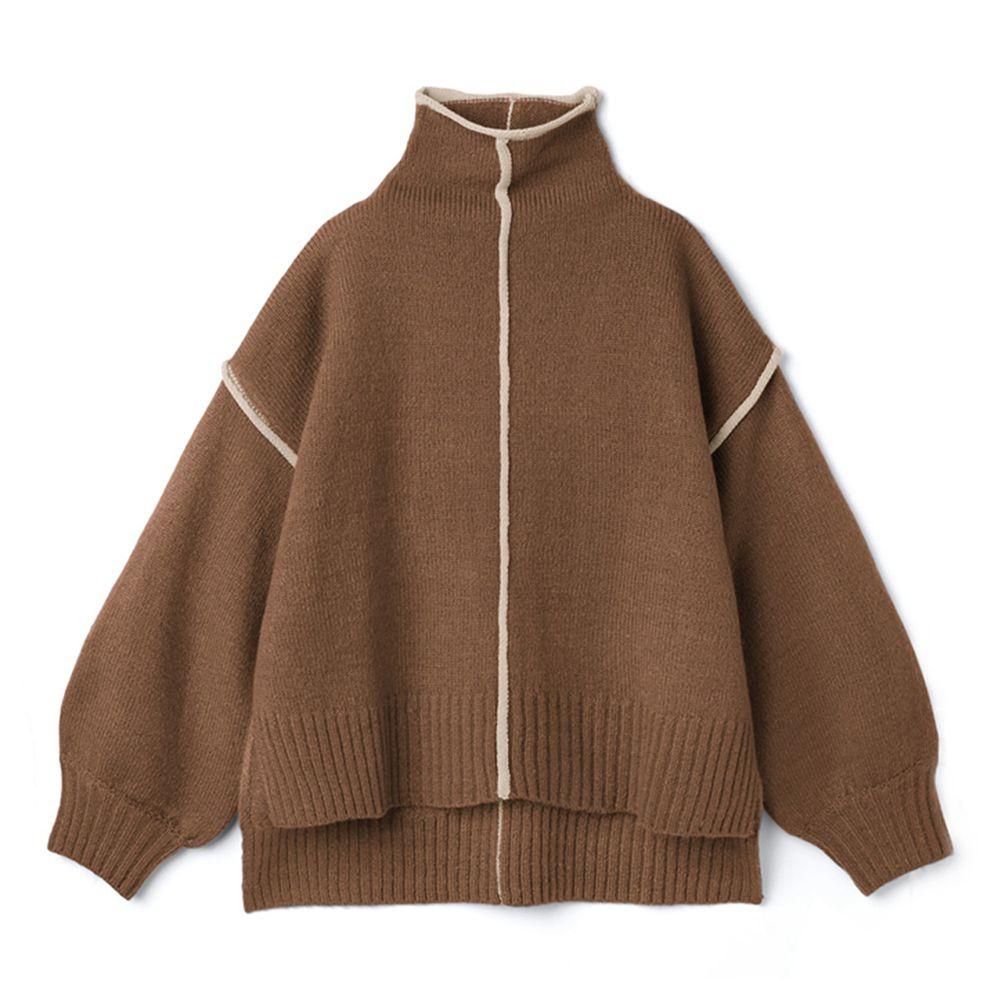 日本 GRL - 撞色線條高領毛衣-咖啡