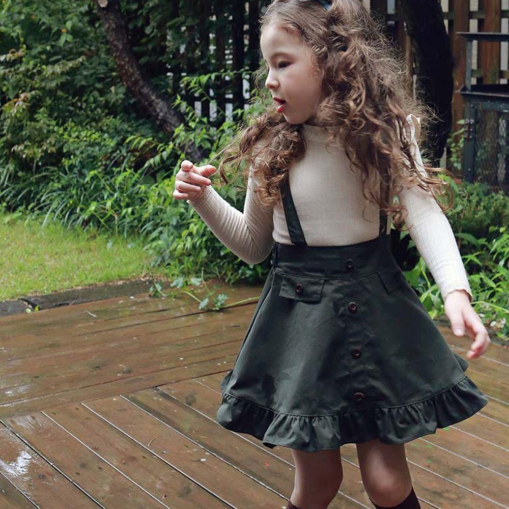 韓國 PuellaFLO - 荷葉裙襬後交叉吊帶裙-綠