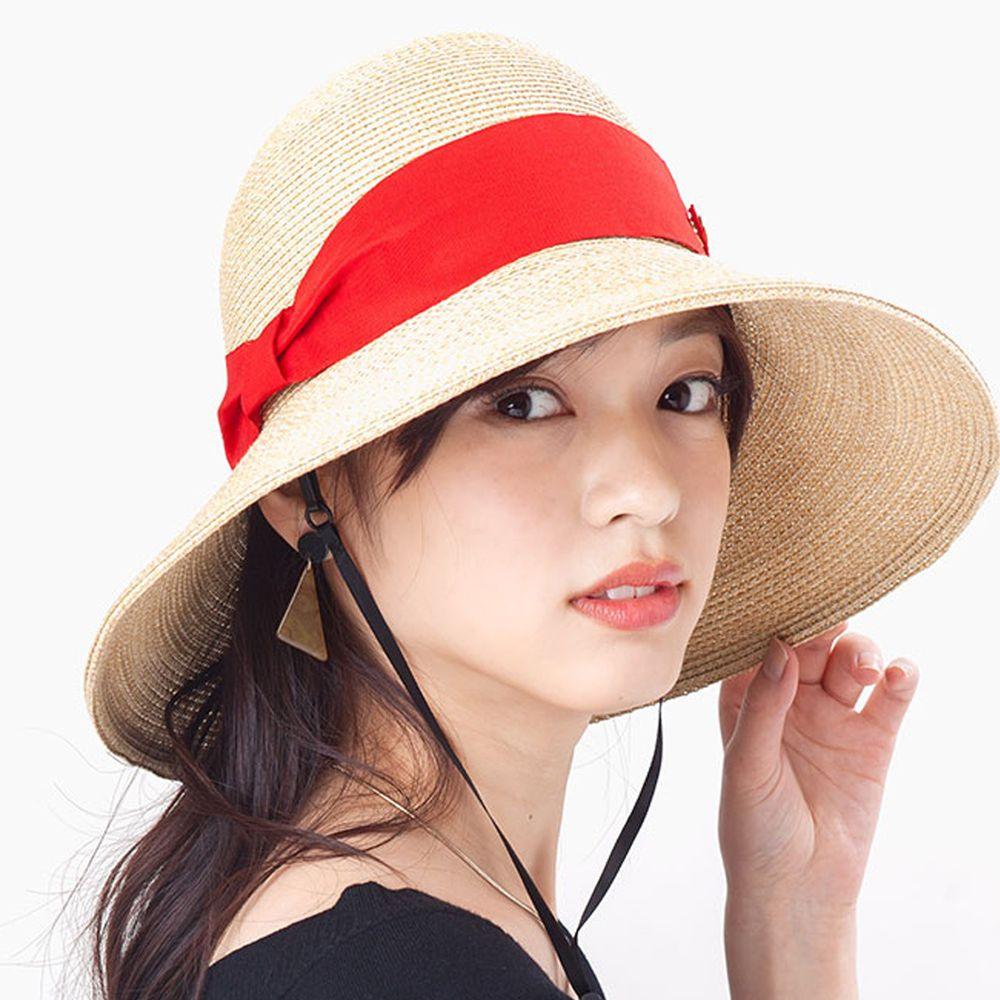 日本 irodori - 【irodori】抗UV可捲收 大緞帶遮陽草帽(附防風帽帶)-杏X紅緞帶