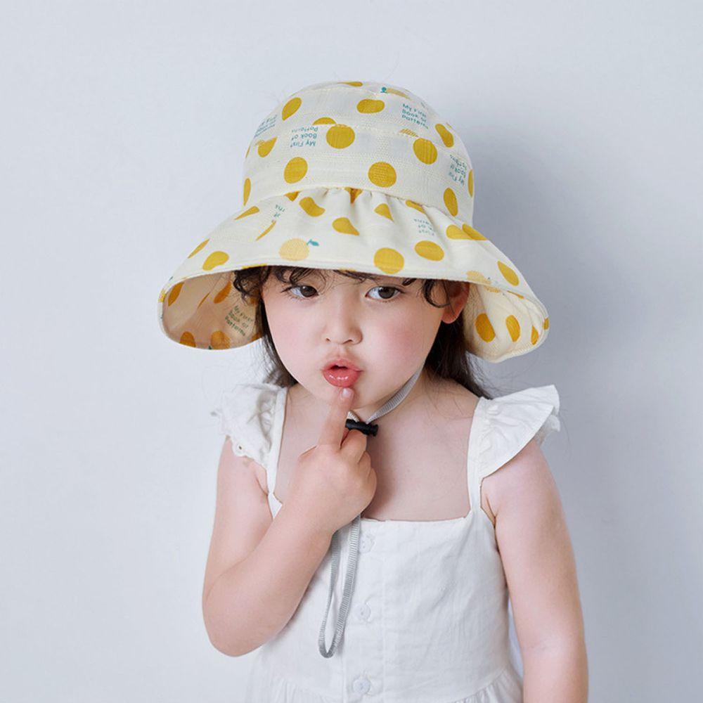 兒童薄款空頂遮陽帽-黃色點點 (49-51cm)