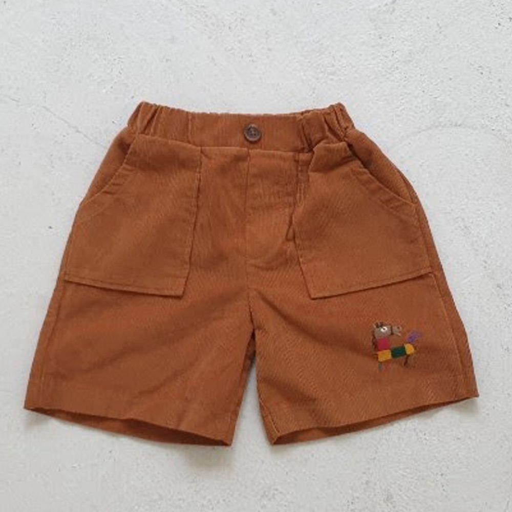 韓國 Mimico - 積木馬大口袋燈芯絨短褲-棕