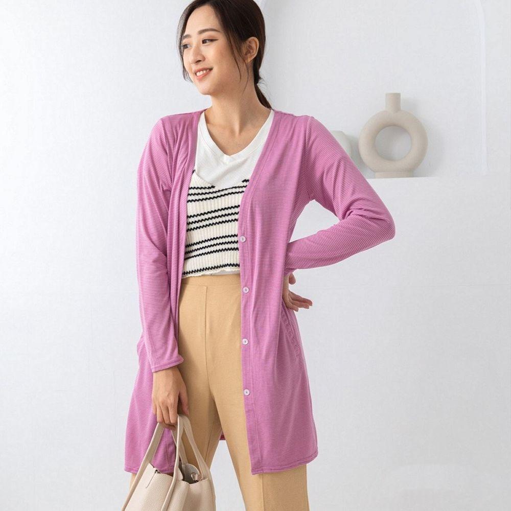 貝柔 Peilou - (新上市)日本水潤白抗UV保濕防曬長版罩衫-V領長版-莓果粉