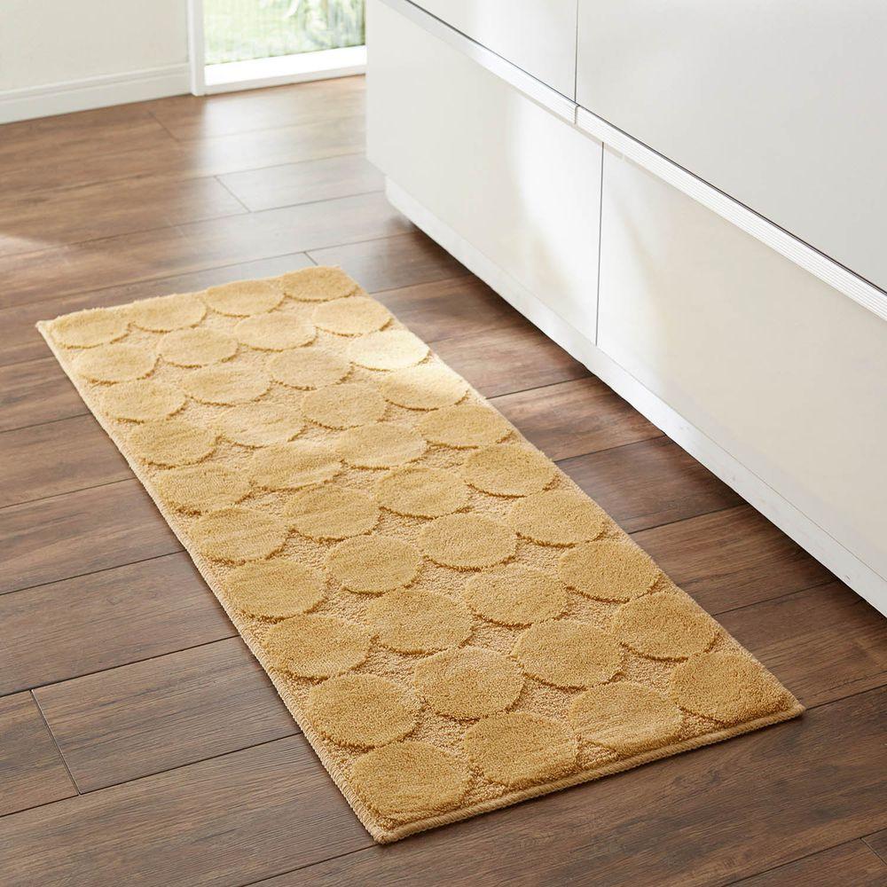 日本千趣會 - 抗菌防臭加工 長毛舒適腳踏墊(廚房/臥室)-普普圓點-芥末黃