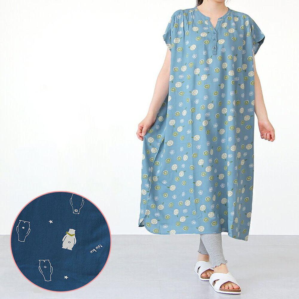 日本女裝代購 - COOL 涼感柔軟舒適家居短袖洋裝/睡衣-北極熊-深藍 (M-L Free)