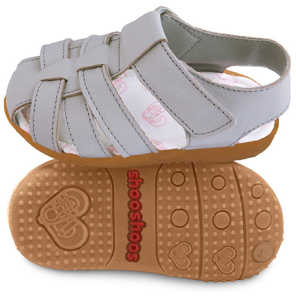 英國 shooshoos - 健康無毒真皮手工涼鞋/童鞋-時尚灰