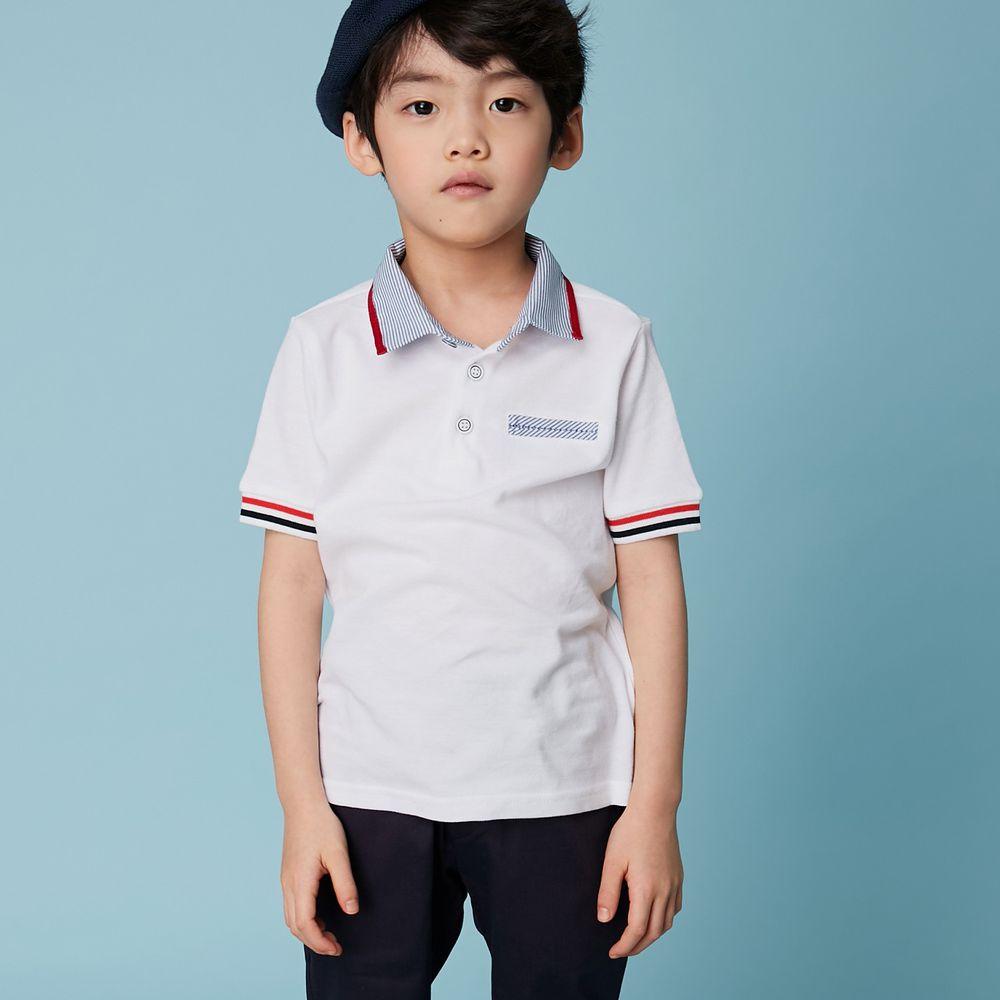 韓國 Coco Bang - 英國風POLO衫-白