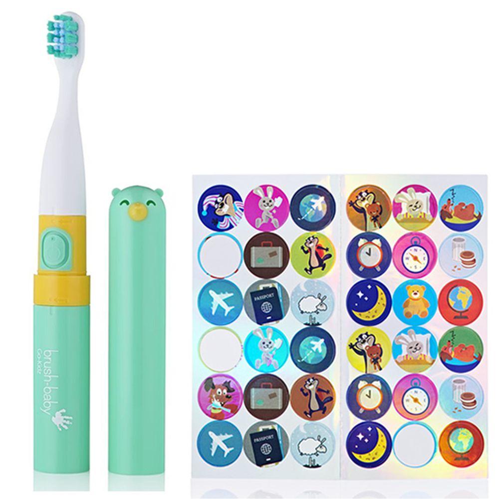 英國 brush-baby - 外出攜帶型GoKidz聲波電動牙刷(粉綠)-3歲以上