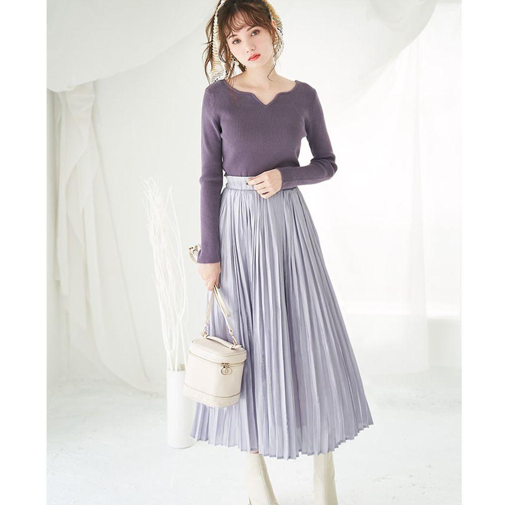 日本 GRL - 明星聯名款 光澤感緞面百褶長裙-淺藍