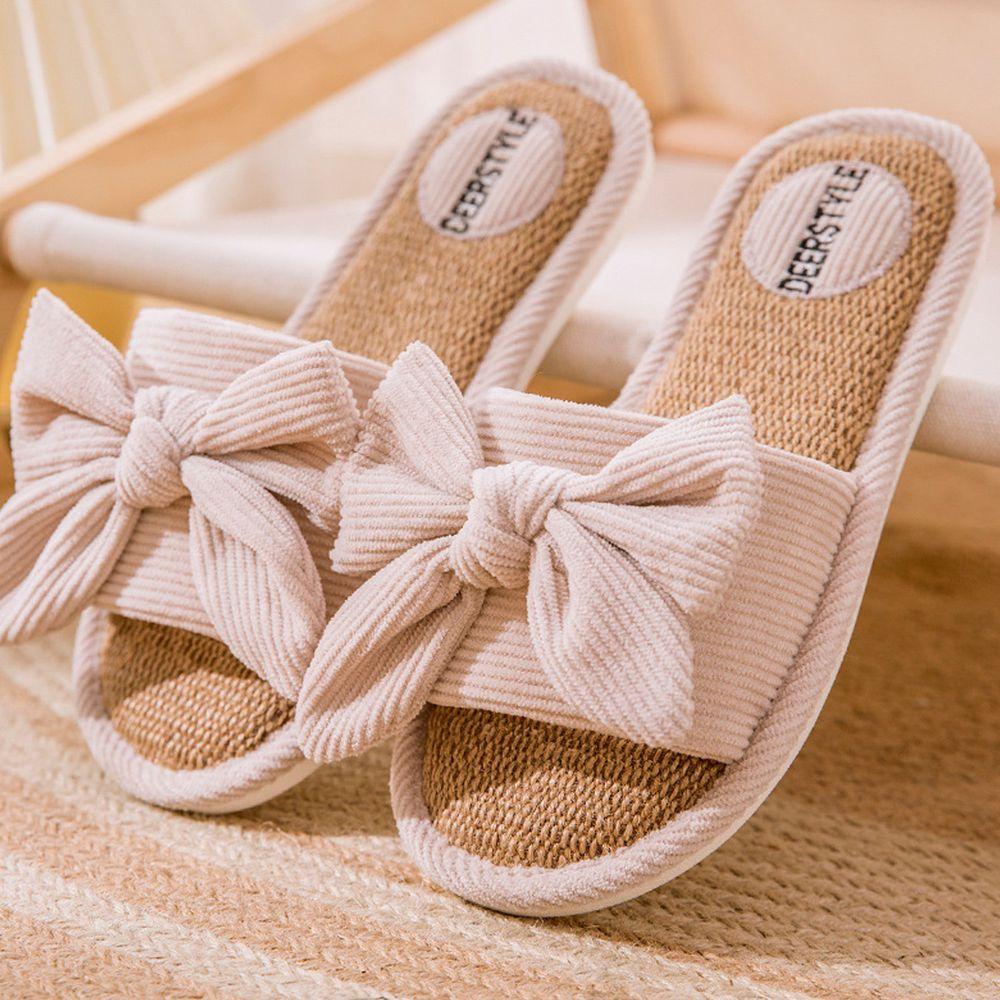 亞麻室內拖鞋-蝴蝶结-米白色