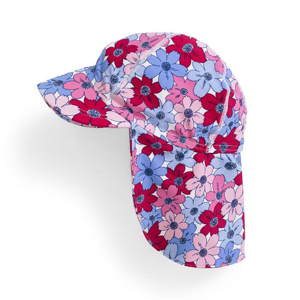 英國 JoJo Maman BeBe - 嬰幼兒/兒童泳裝戲水UPF50+防曬護頸遮陽帽-粉紫花卉