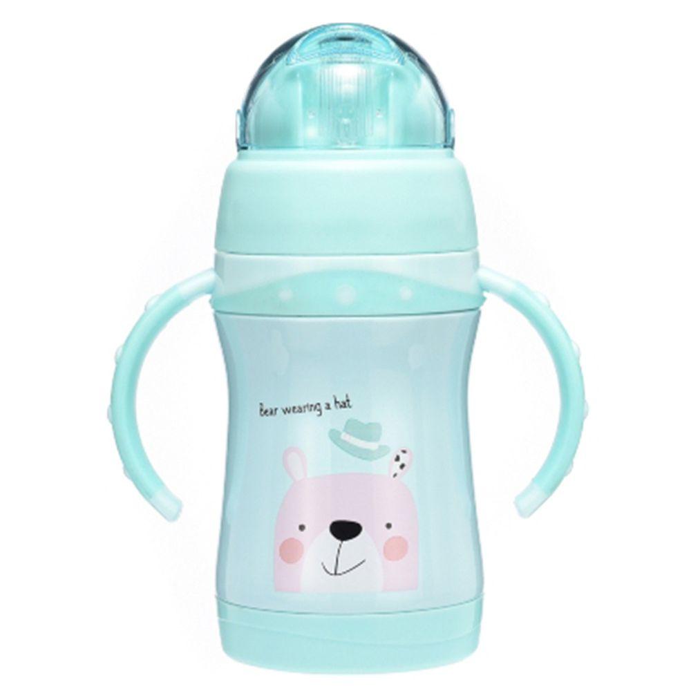 BABY TALK - 可愛動物不鏽鋼2用水杯兒童水壺-熊大哥-湖水綠-260ml