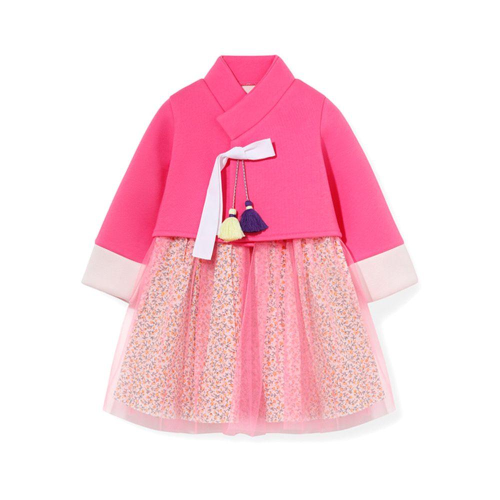 韓國 OZKIZ - 流蘇裝飾碎花紗裙2件式生活韓服-桃粉