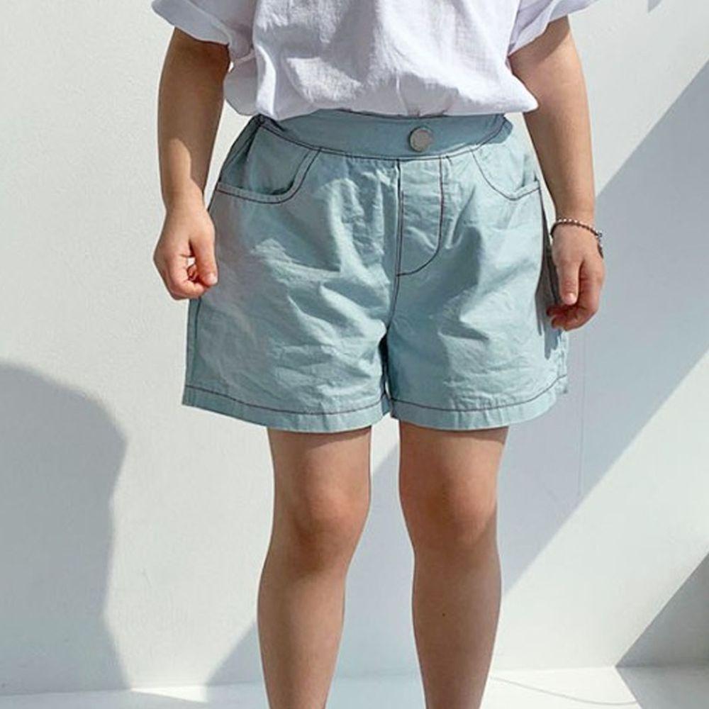 韓國 PINK151 - 縫線假鈕扣短褲-淡藍
