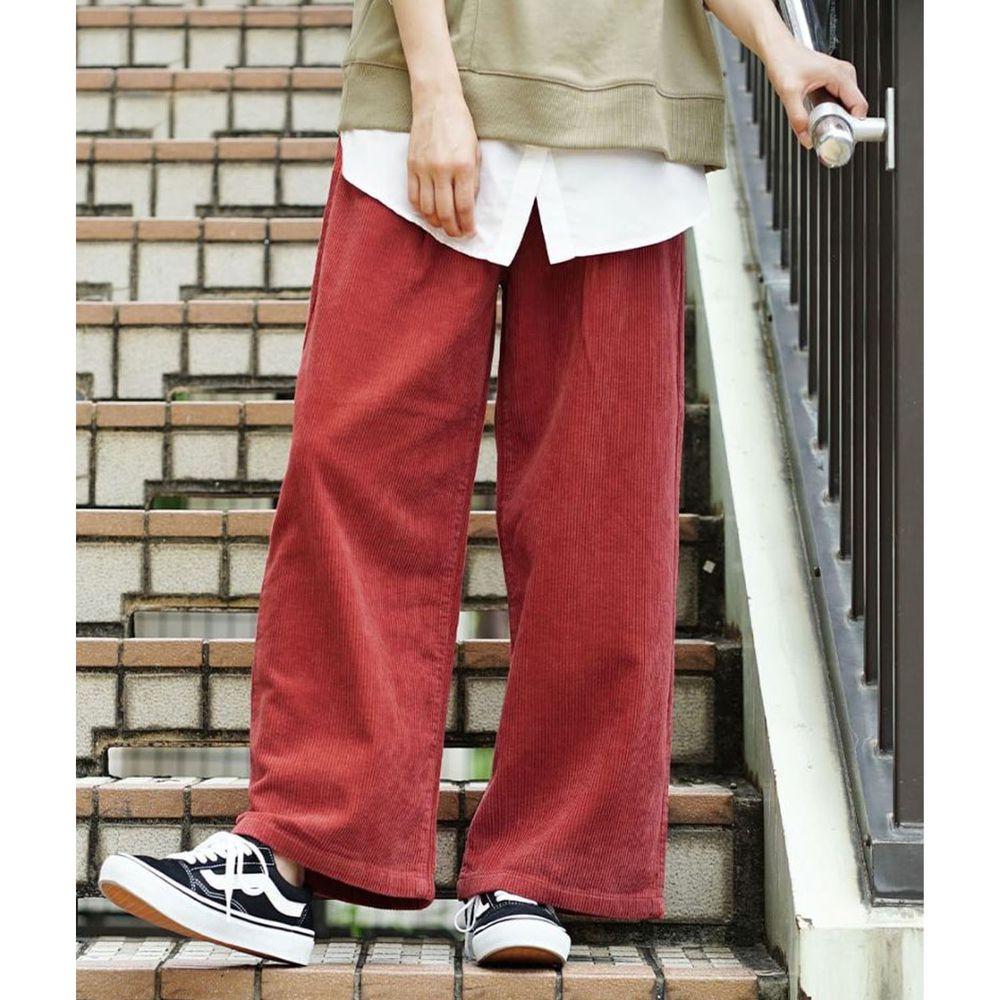 日本 zootie - 俐落帥氣燈芯絨寬褲-紅