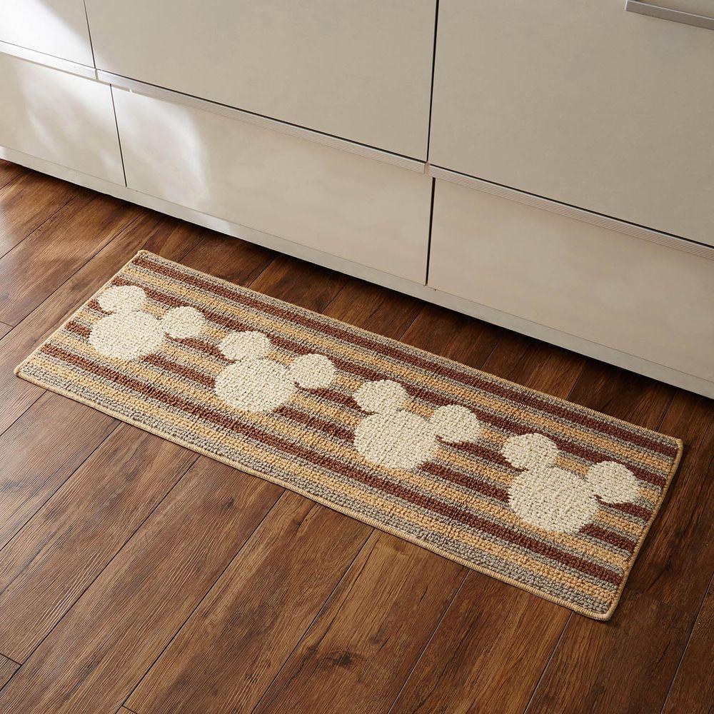 日本千趣會 - 迪士尼 日本製 長條型防滑腳踏墊(廚房/臥室)-米奇頭橫條紋-杏咖啡