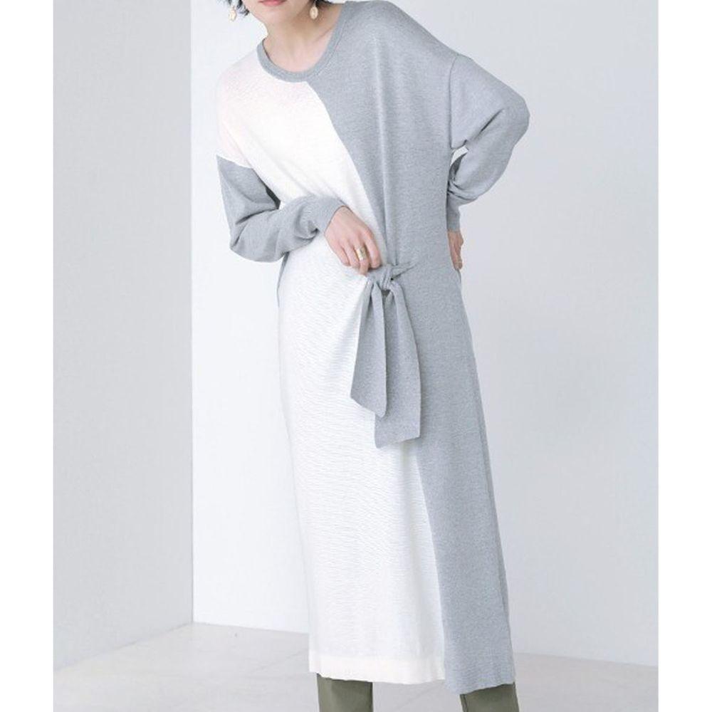 日本 Bou Jeloud - 撞色設計小綁帶薄針織長袖洋裝-白灰