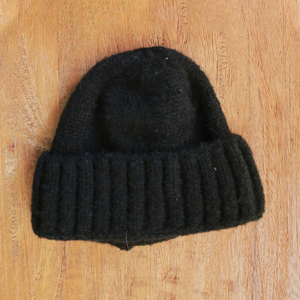 韓國 PuellaFLO - 圓頂針織毛帽-黑