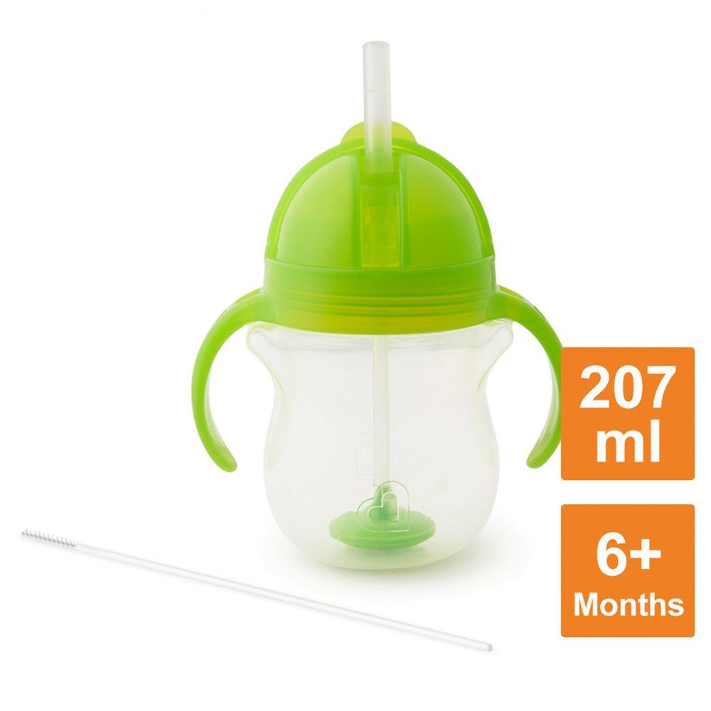 美國 munchkin - 貼心鎖滑蓋防漏杯(360度吸管)207ml-綠 (6M+)