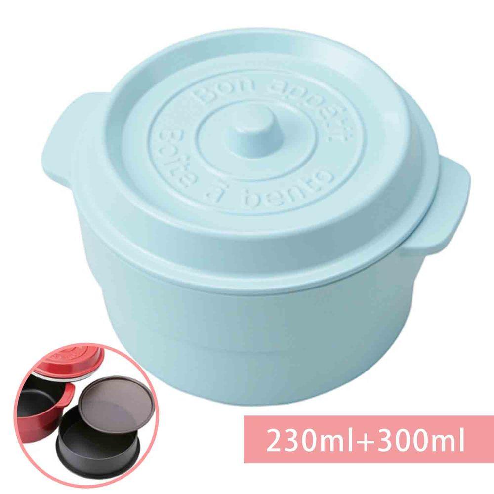 日本 TAKENAKA - 日本製鑄鐵鍋造型便當盒/保鮮盒-兩段式-天空藍-230ml+300ml