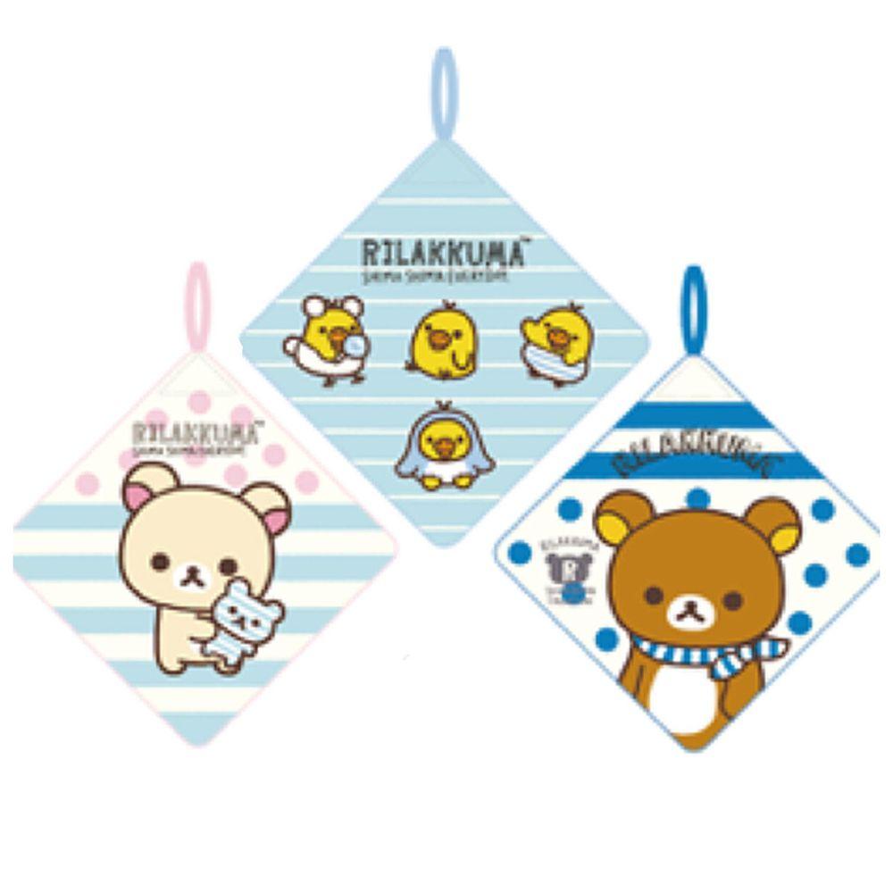 日本代購 - 卡通可掛式方巾/擦手巾三件組-拉拉熊 (28x28cm)