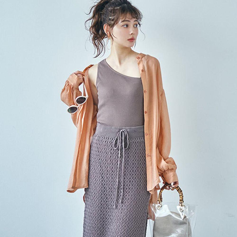 日本 GRL - 絲滑薄透感寬版長袖上衣/罩衫/外套-甜心橙