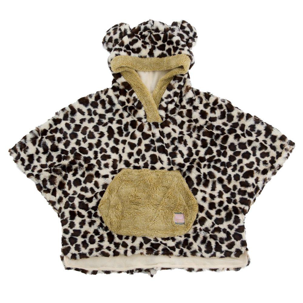 日本 BISQUE - 動物造型連帽超柔軟保暖斗篷-花豹-杏 (3-5y)