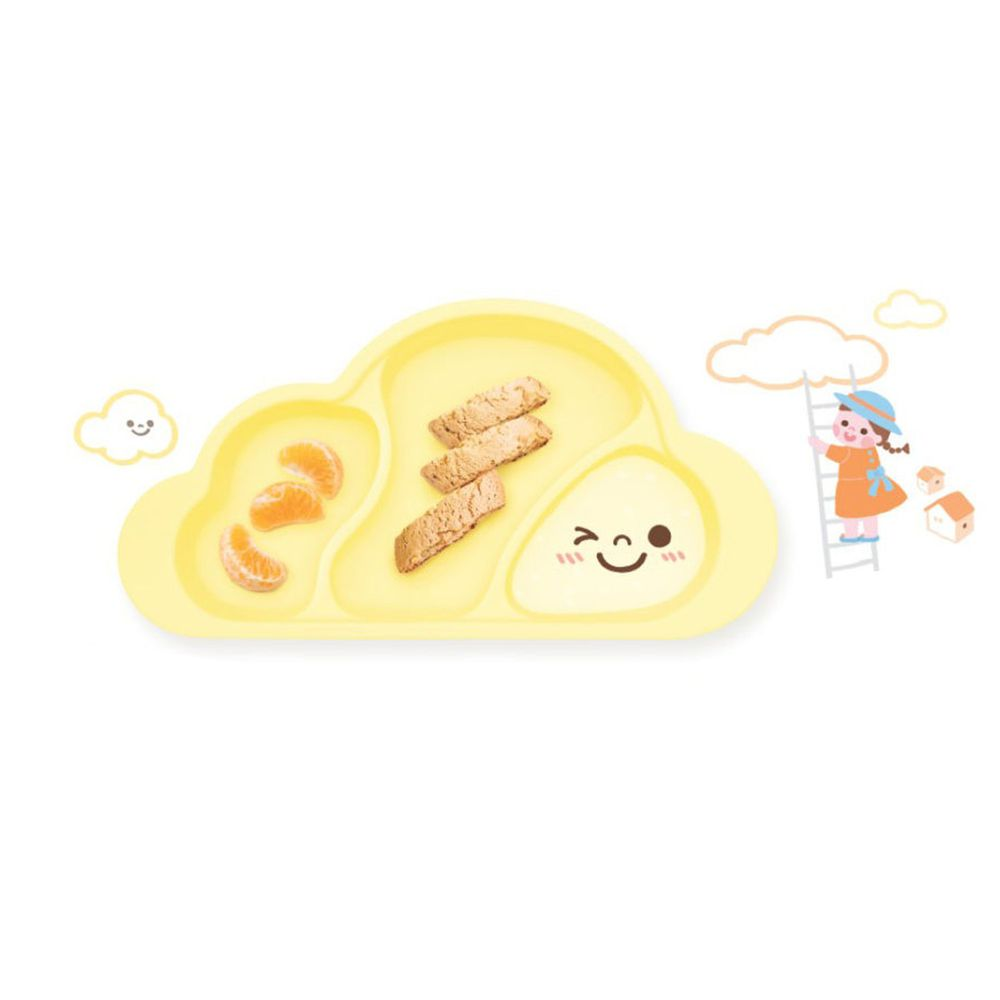 韓國 Mother's Corn - 雲朵分隔矽膠餐盤-鵝蛋黃-1入