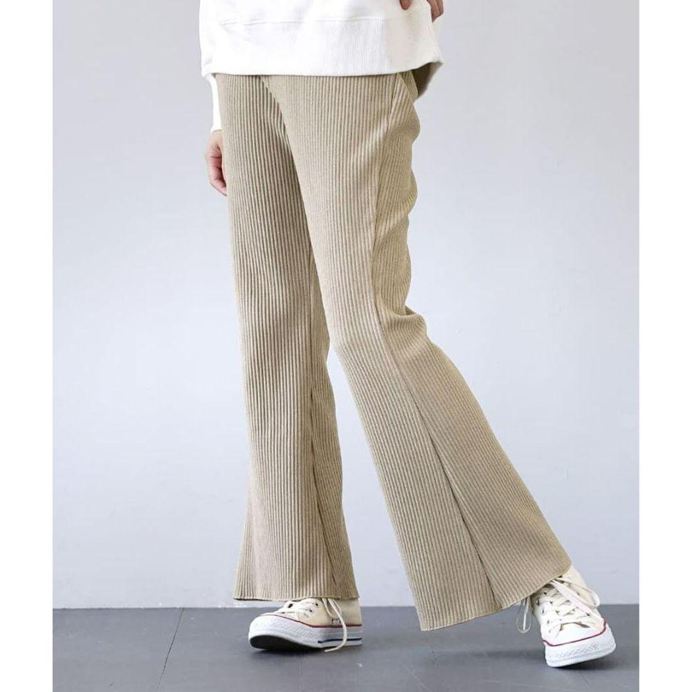 日本 zootie - 微起毛羅紋喇叭褲-灰杏