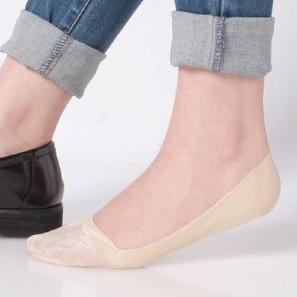 日本 okamoto - 超強專利防滑ㄈ型隱形襪-深履款-米薄紗 (23-25cm)-足底棉混