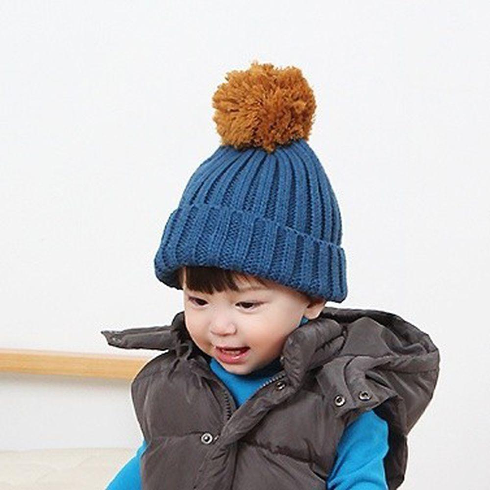 韓國 Babyblee - 大毛球針織毛線帽-藍 (FREE)