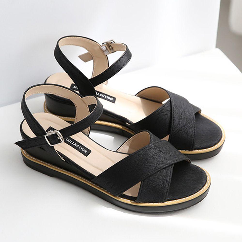 韓國 Dangolunni - 簡約交叉後增高涼鞋(5cm高)-黑