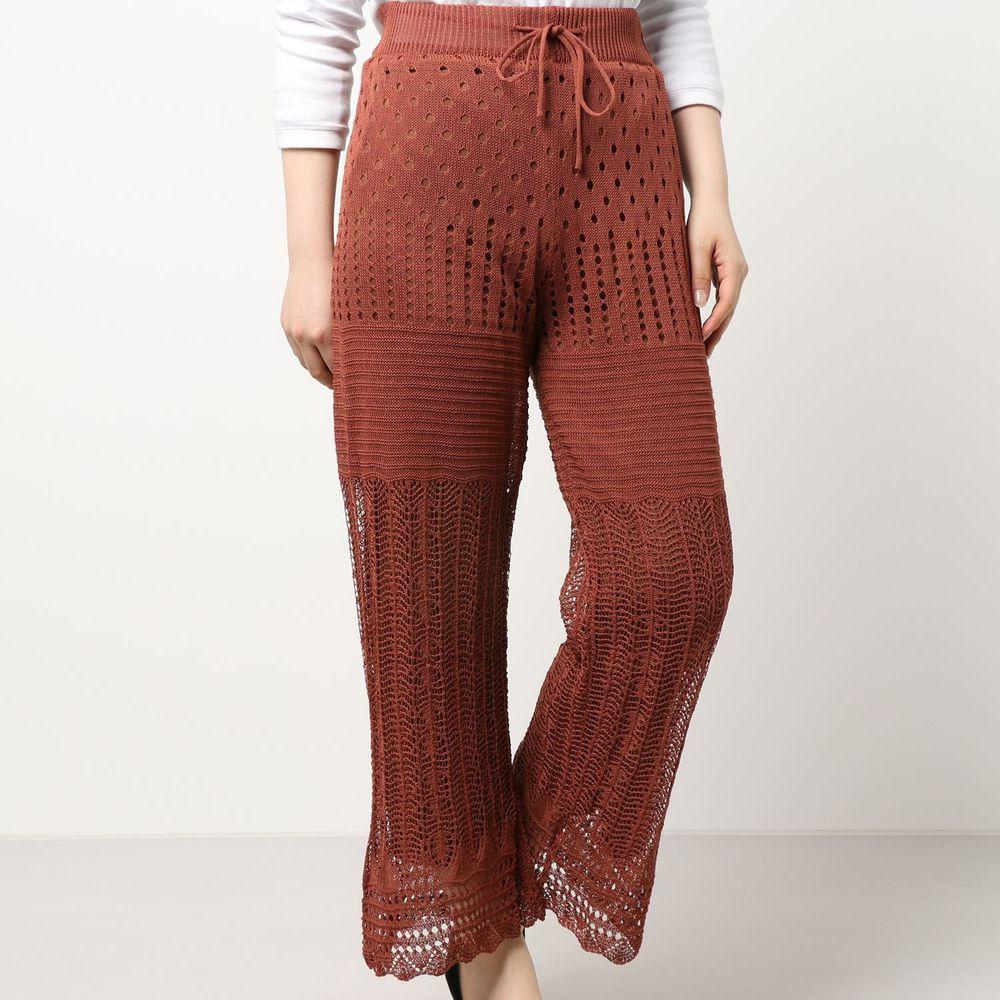 日本 Riche Glamour - 簍空針織落地長褲(有內襯)-磚紅